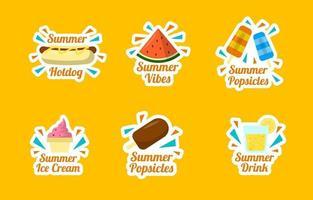 colección de pegatinas de comida de verano vector