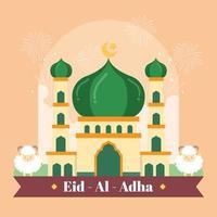 hermosa mezquita preparándose para eid al adha vector
