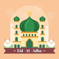 Beautiful Mosque Preparing For Eid Al Adha vector