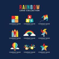 estrella de molinete de colores del arco iris y globo de aire caliente vector