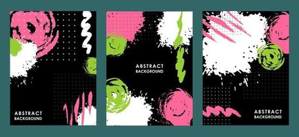 SET OF BLACK BACKGROUNDS WITH SPOTS AND STREAKS vector