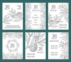 SET OF WHITE BACKGROUNDS WITH CAMELLIA TWIGS vector