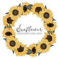 marco floral de la guirnalda floral del girasol de la acuarela vector
