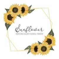watercolor sunflower floral rustic border vector