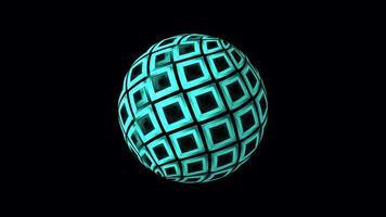 lazo aislado de bola azul geométrica brillante digital video