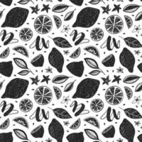 WHITE BACKGROUND WITH BLACK PAINTED CITRUS AND LEAVES vector