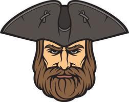 cabeza de pirata con sombrero de marinero vector