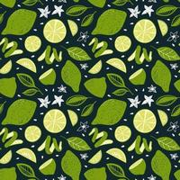 SEAMLESS PATTERN WITH LIME FRUITS AND LEAVES vector
