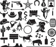 Wild West - Cowboys icons set vector