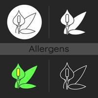 Spathiphyllum dark theme icon vector