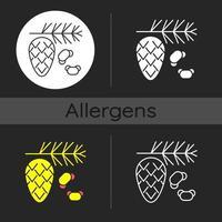 Cedar and pine tree pollen dark theme icon vector