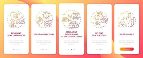 Liver duties onboarding mobile app page screen with concepts vector