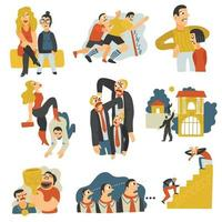 Competitive Rivalry Flat Icons Collection Vector Illustration