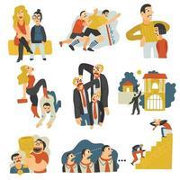 Ilustración de vector de colección de iconos planos de rivalidad competitiva