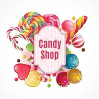 Realistic Candies Frame Background Vector Illustration