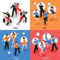 Dance Isometric People Concept Vector Illustration