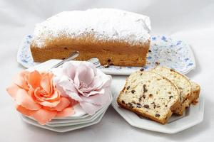 Plum cake with flowers photo