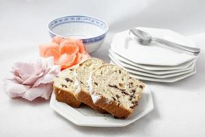 Plum cake with chocolate chips photo