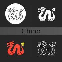 Loong dragon dark theme icon vector