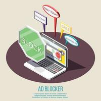 Ad Blocking Isometric Composition Vector Illustration
