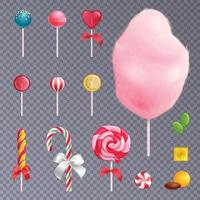 Realistic Sweets Background Set Vector Illustration