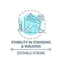 Stability in standing and walking concept icon vector