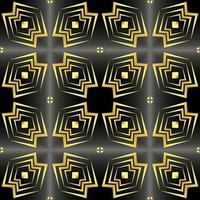 esta es una textura de caleidoscopio dorado vintage en estilo oriental con estrellas negras vector