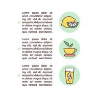 Citrus juice and green tea concept line icons with text vector