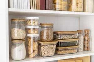 Food containers on shelves photo