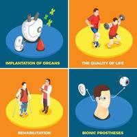 Ilustración de vector de concepto de diseño de tecnología médica 2x2