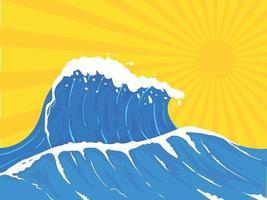 Sea wave. Hand drawn wave background illustration vector