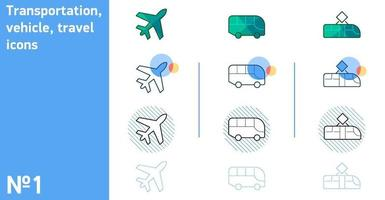 This is a set of icons of an airplane and a bus and a tram in different styles vector