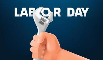 Labor day greeting card with hand and wrench vector
