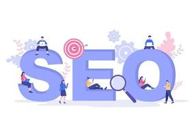 SEO Optimization Vector Illustration To Search Engine, App Development, Web Pages and Bookmarks. Landing Page or Banner Template