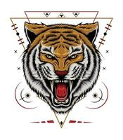 Logo Tiger Vector. Tiger head illustration. design for T shirt , mascot, logo team, sport, metal printing, wall art, sticker vector