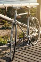 Vintage bicycle at seaside photo
