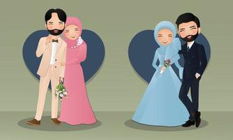 Set Romantic young muslim couple cartoon Joy in love vector
