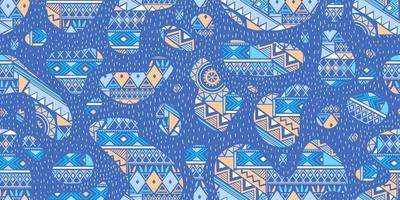 Paisley seamless pattern with flowers in indian style. Floral vector background with blue color.