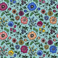 BLUE SEAMLESS PATTERN WITH WILD FLOWERS vector