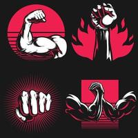 Silhouette Fitness Arm Gym Bodybuilding Hand Stencil Logo Drawing vector