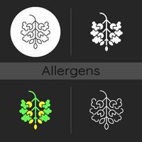Poplar tree pollen dark theme icon vector