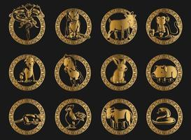 Silhouette Chinese Zodiac Animals Golden Ornament Stencil Drawing vector