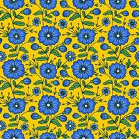 YELLOW SEAMLESS PATTERN WITH WILD FLOWERS vector