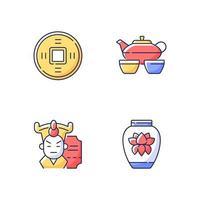 conjunto de iconos de color rgb de asia vector