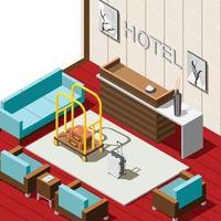 Hotel Reception Isometric Background Vector Illustration