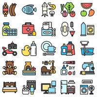 Supermarket and Shopping mall related icon set 4, fiiled style vector