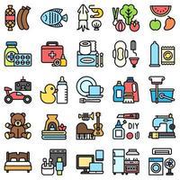 supermercado y centro comercial relacionados con el conjunto de iconos 4, estilo de archivo vector
