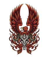 Phoenix illustration with skull. fire of phoenix design for apparel and merchandise vector