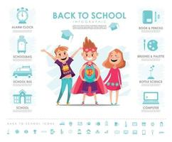 Back to school Info graphic with vector set with icons and elements