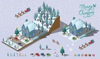 Merry Christmas vector design include house people and car Isometric 3d vector